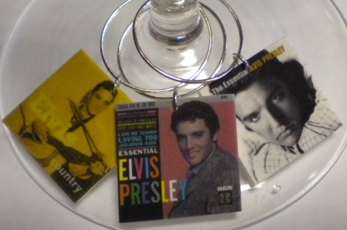 FortySevenGems Set of 6 Elvis Presley Album Cover Collection Wine Charms A Random 6 are Sent - Elvis Presley Album Covers