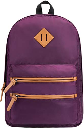 Gysan Lightweight Water Resistant College Backpack Book Bags Travel Rucksack Fit 15 Inch, Purple (Best Waterproof Backpack For College)