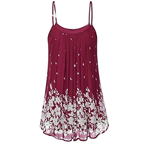 Women's Summer Spaghetti Floral Print Boho Mini Dress Sexy Casual Sleeveless T-Shirt Short Camisole Tank Dress Red
