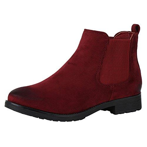 napoli-fashion Damen Stiefeletten Flache Chelsea Boots Leder-Optik Schuhe  Gr. 36- caa0753a14