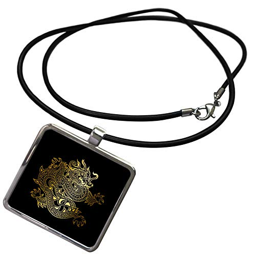 3dRose Russ Billington Designs - Image of Gold Effect Dragon on Black- not Actual Gold Metallic foil - Necklace with Rectangle Pendant ()