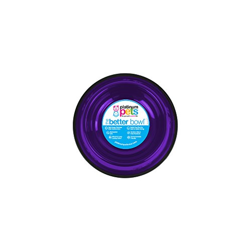 Free Small Pet Bowl - Platinum Pets Non-tip Stainless Steel Dog Bowl, 10 oz, Purple