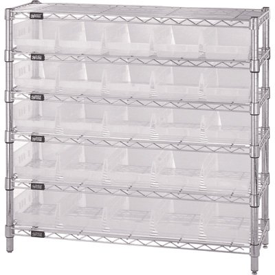 Quantum Storage Systems WR6-36-1236-102CL 6-Tier Complete Wire Shelving System with 25 QSB102CL Clear-View Economy Shelf Bins, Chrome Finish, 36
