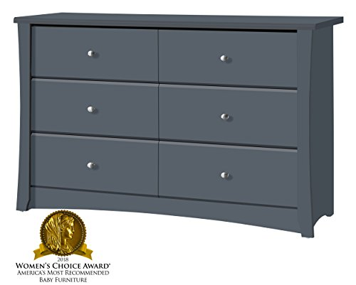 Storkcraft Crescent 6 Drawer Dresser, Grey, Kids Bedroom Dresser with 6 Drawers, Wood and Composite Construction, Ideal for Nursery Toddlers Room Kids Room - BEAUTIFUL DESIGN: The Storkcraft Crescent 6-Drawer Universal Dresser's elegant curves and sleek lines bring a touch of elegance to any bedroom or nursery. This easy-to-assemble dresser is the perfect combination of elegant design & practical function. CO-ORDINATE YOUR STYLE: Designed to match any Storkcraft crib, glider, or change table, the Crescent bedroom dresser is ideal for organizing baby's clothes, socks, onesies, even burp rags & diapers! Sturdy & functional, it fits seamlessly with any décor. ORGANIZATION MADE EASY: With 6 spacious drawers to fit clothes, accessories or toys, the Storkcraft Crescent Dresser will help you keep the nursery, toddler's room, or kid's room neat and organized. The stylish, sleek design will look beautiful for years. - dressers-bedroom-furniture, bedroom-furniture, bedroom - 41pZ 0prEXL -