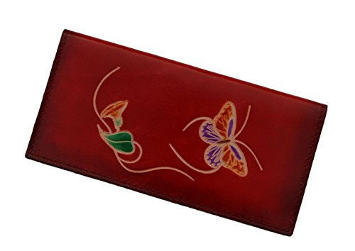 Leather Check Book Cover, a Butterfly and Flower Patterns Embossed on Both Side (Red)