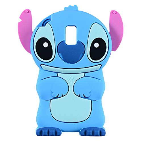 Blue Stitch Case for Samsung Galaxy J7 V 2nd Gen/J7 Star /J7 Aero/J7 Top/J7 Crown/J7 Aura/J7 Refine/J7 Eon,3D Cartoon Animal Cute Soft Silicone Cover,Animated Cool Cases for Kids Teens Girls(J7 2018)
