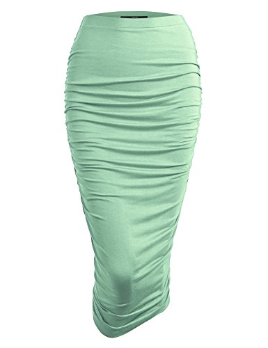 - Made By Johnny WB1147 Womens Elegant High Waist Pencil Skirt with Side Shirring XL Mint