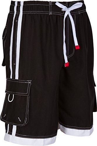 Sakkas 3097WS Mens Contrast Stripes Skate Surf Board Short / Swim Trunks - Black/2X-Large