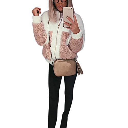 XL Manches White Colorblock Col Color Polaire Goyfeelip Size Stand Zipper Femme Poches Manteau Longues avec A7Xf6AyK