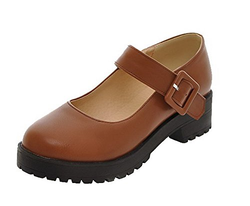 Toe Women's Solid Material Brown AmoonyFashion Round Closed Shoes Court Soft Buckle FXTqZnaZ