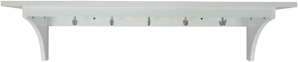MEDFORD - 90cm étagère murale 5 crochets porte-manteau - blanc