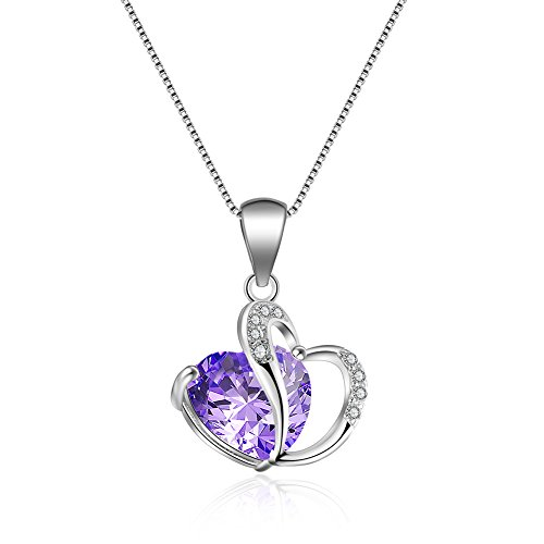 Price comparison product image 925 Sterling Silver Womens Necklace,Lots Variety of Colors Stone love Shape Engagement Pendant(add 925 Silver Chain 40CM +5CM) (Purple Cz)