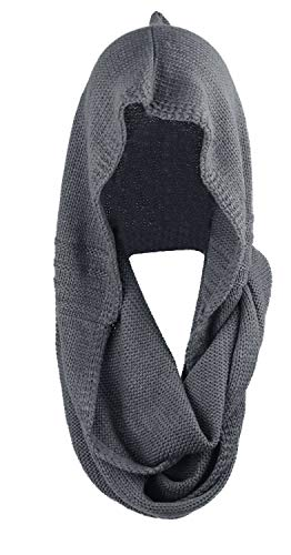 - Bellady Winter Soft Pullover Knit Infinity Scarf Beanie Hoodie Scarf, Gray, One Size