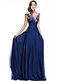 Babyonline Womens Chiffon Prom Dreses 2017 Long Lace Formal Evening Gowns