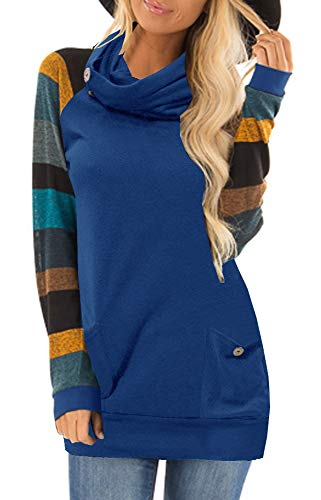 - ETCYY Women's Long Sleeve Stripe Sweatshirt Button Cowl Neck Tunic Hoodie Tops