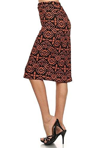 Garyline Trendy Print Stretch Pencil Skirt (2X-Large,TRI-Orange) (Yakima Wa Stores)
