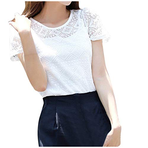 Sunhusing Women's Solid Color Round Neck Short Sleeve Lace Splicing Professional Ladies Slim Top T-Shirt White