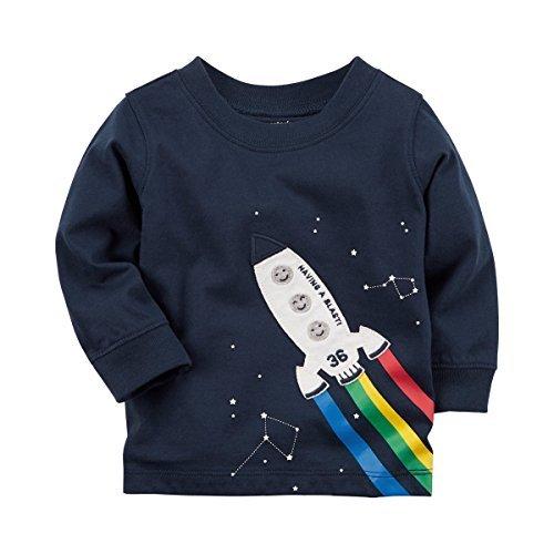 Carter's Baby Boys' Long Sleeve Rainbow Rocket Jersey Tee 3 Months (Jersey Cotton Rainbow)