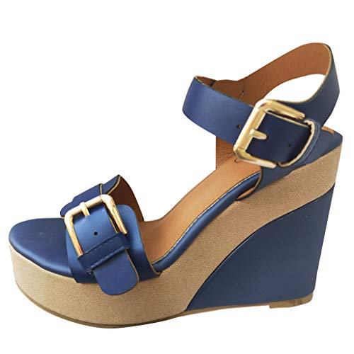 ◕‿◕Water◕‿◕ Summer Womens Platform Sandals,Ankle Strap Peep Toe Comfy Sandals Leather Flip Flops Buckle Rome Sandals Blue