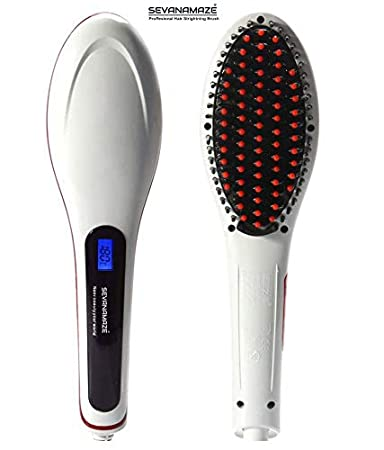 SEVANAMAZE hair straightener brush with Temperature control LCD Display 2000 watt  White  Hair Styling Tools