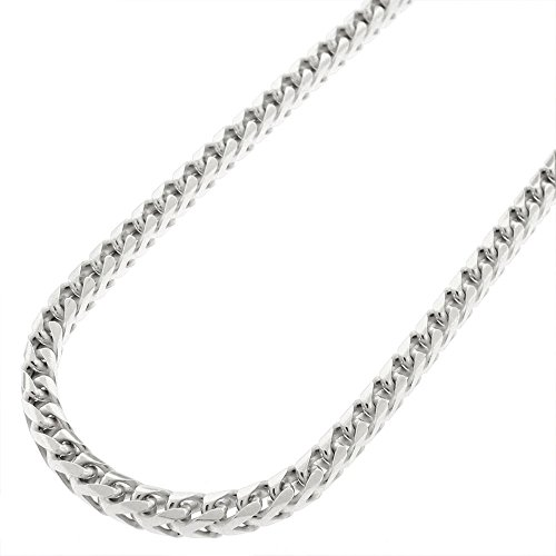 Sterling Silver Italian 3.5mm Solid Franco Square Box Link 925 Rhodium Necklace Chain 20 - 30