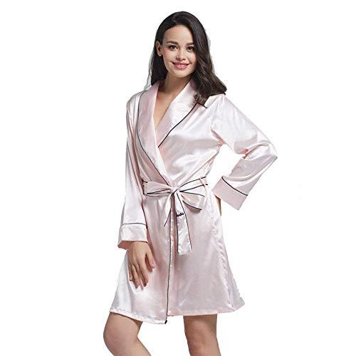 Pink Señoras Encaje Hielo De Larga Correa Anti Ropa Kimono Camisón Albornoz Pijamas Manga Seda Owq1Or0