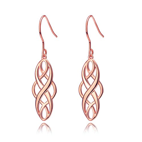 S925 Silver Earrings Solid Sterling Silver Polished Good Luck Irish Celtic Knot Vintage Dangles (Rose Gold)