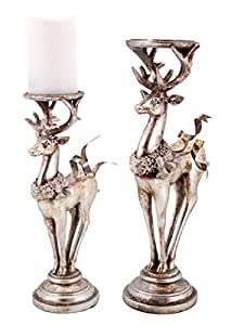 """Set of 2 Distressed Silver Deer Candle Holder Christmas Decorations 13""""-16"""""""