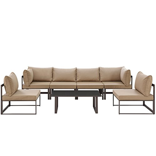 Modway Fortuna 7-Piece Aluminum Outdoor Patio Sectional Sofa Set in Brown Mocha