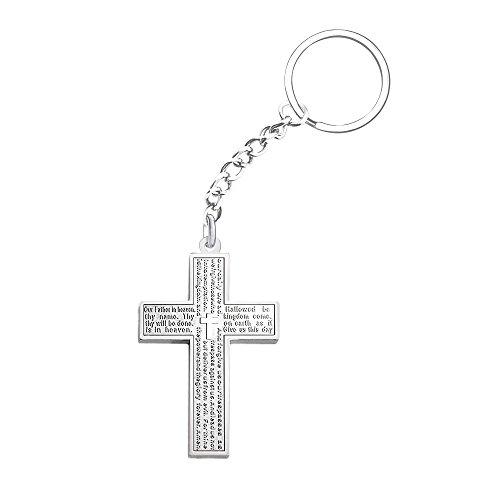 Stainless Steel Simple Cross Pendant Lord's Prayer Keychain Christmas (Cross Pendant Key Ring)