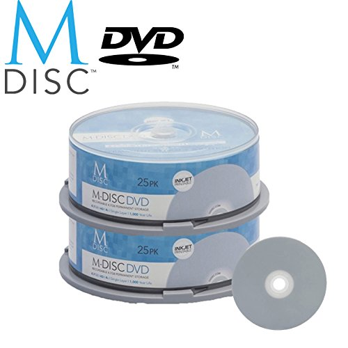 50 Pack Millenniata M-Disc DVD 4.7GB 4X HD White Inkjet Printable 1000 Year Permanent Data Archival / Backup Blank Media Recordable Disc