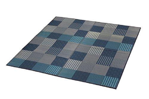 イケヒコ い草 花ござ カーペット 2畳 国産 『京刺子』 ブルー 本間2畳 (約191×191cm) B006DU4N68  本間2畳 (約191×191cm)