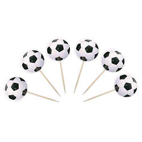 JETEHO 48Pcs Soccer Ball Cupcake Toppers, Soccer Ball Football Cake Food Topper Picks for Birthday Party Wedding Cake Christmas Xmas Decoration (Best Christmas Cake Balls)