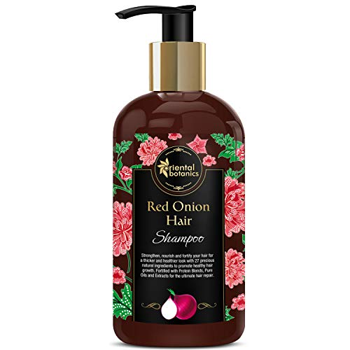Oriental Botanics Red Onion Hair Growth Shampoo, 300ml - With 27 Hair Boosters Controls Hair Loss & Promotes Healthy Hair Growth (Curry Leaves And Coconut Oil For Hair Growth)