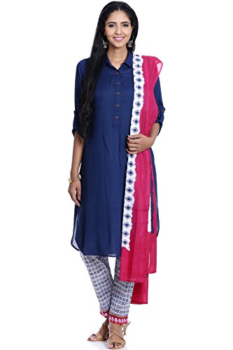 BIBA Women's Asymmetric Viscose Suit Set 36 Blue (Salwar Suit Blue)