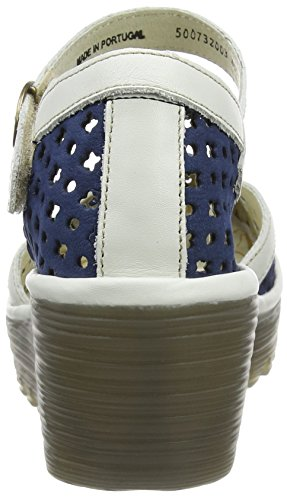 Fly London P500732003, Sandalias de Cuñas Mujer Azul (Blue/Offwhite 003)
