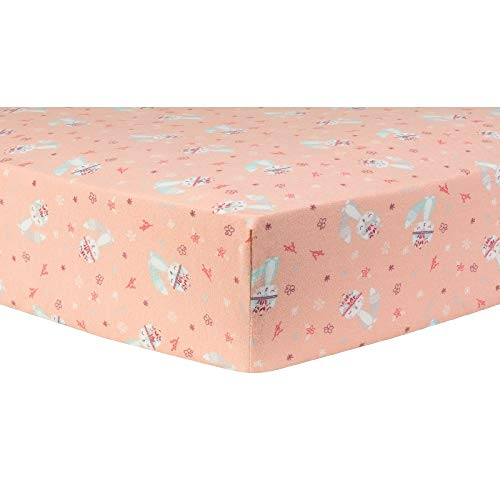1 Piece Baby Fox Prairie Flowers Deluxe Scatter Print Fitted Crib Sheet, Elegant Soft 100% Cotton Flannel Colorful Blush Pink Teal Sheets, Beautiful Pretty 10 Inch Deep Pocket Girl Crib Sheet ()