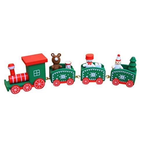 (Lavany Christmas Decorations Woods Small Train Children Kindergarten Gift Decorative Stitching Toy)