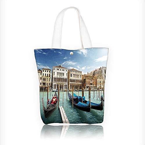 Canvas Shoulder Hand Bag Decor Gondolas Venetian Lagoon Venezia Photo Print Accessories Blue Grey Orange Tote Bag for Women Large Work tote Bag Shoulder Travel Totes Beach Bag W16.5xH14xD7 INCH