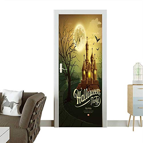 Homesonne Door Decals Happy Halloween Party Castles with Message,bat,Silhouette Tree,Moon Pressure Resistant W38.5 x H79 -