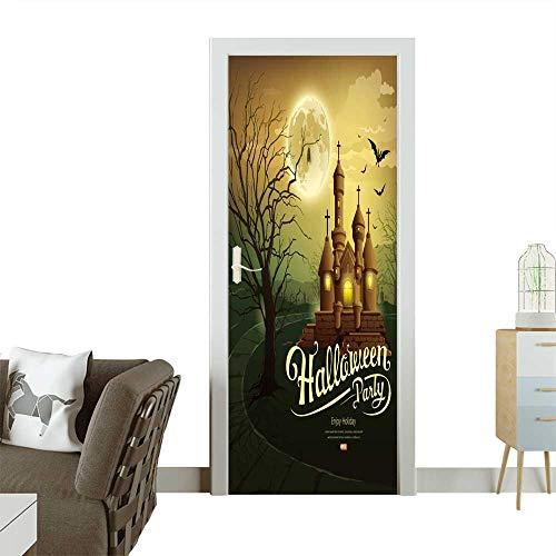 Homesonne Door Art Sticker Happy Halloween Party Castles with Message,bat,Silhouette Tree,Moon Room Decoration W36 x H79 -