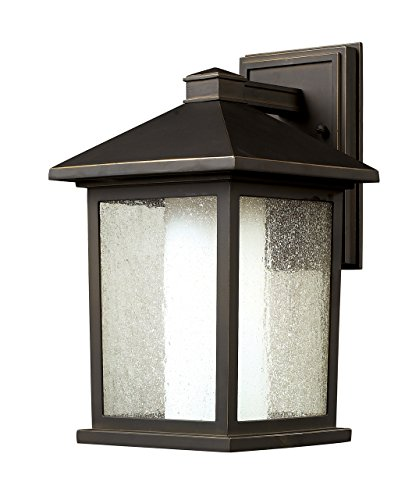 Z-Lite 524M Mesa Outdoor Wall Light, Aluminum Frame, Oil Rubbed Bronze Finish and Seedy and Matte Opal Shade of Glass Material