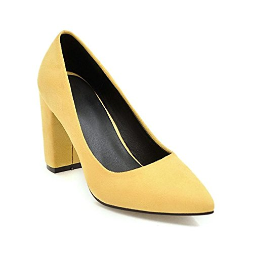 Price comparison product image High Heels Shoes 8.5cm Big Size 33-43 Wedding Bride Shoes Shallow Shallow Women Pumps Flock Nubuck Leather Spring Yellow 8