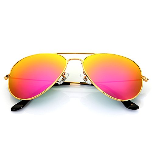 Aviator Sunglasses for Men Women,Flash Mirror Lens UV400 Sunglasses Eyewear with Sun Glasses Case (Pink /Gold Frame, - Aviator Sunglasses Reflective