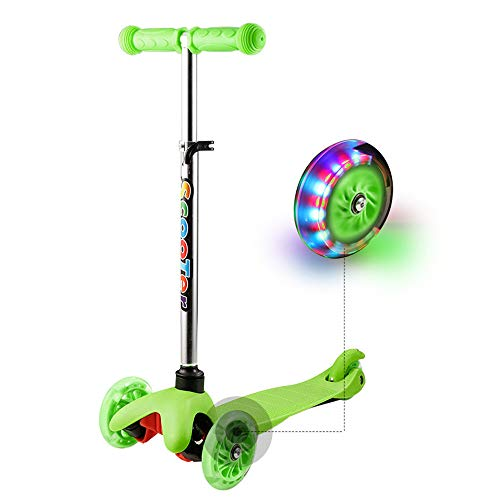 Hikole Scooter for Kids Toddler, 3 Wheel Mini Height-Adjustable Kick Scooter with LED Light Up Wheels, Birthday Gifts for Children Boys Girls 2 to 6 Years Old ()