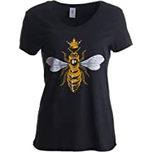Ann Arbor T-shirt Co. Queen Bee | Funny, Cute, Cool Boss Lady Crown Alpha Top, Women's V-Neck T-Shirt