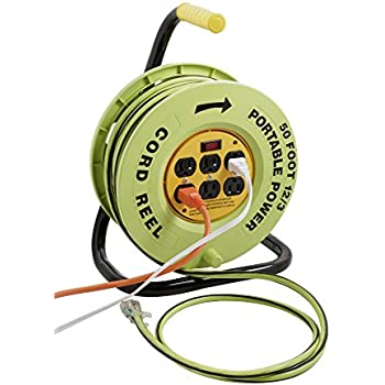 Designers Edge E-238 Power Stations 12/3-Gauge Cord Reel with 6 Outlets, 50-Foot