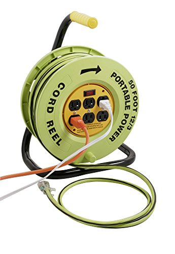 (Designers Edge E-238 Power Stations 12/3-Gauge Cord Reel with 6 Outlets, 50-Foot)
