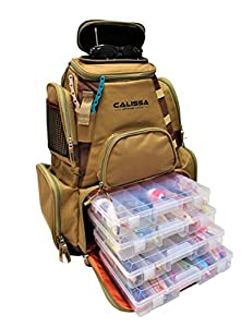 Calissa Offshore Tackle Blackstar Large Fishing Tackle Backpack with Hard Molded Sunglass Case Four 3600 Trays Outdoor Bag Saltwater Resistant + Freshwater Use Accurate Trinidad Offshore Reel Rod Lure by Calissa Offshore Tackle