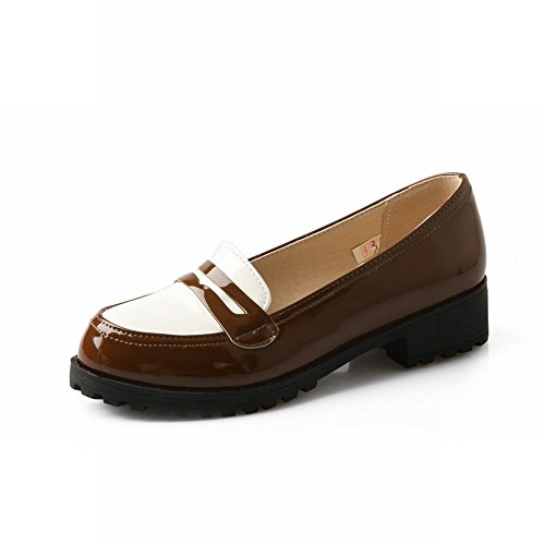Latasa Womens Casual Low-heel Chunky Leather Flats Shoes Brown FPNydHEv1D